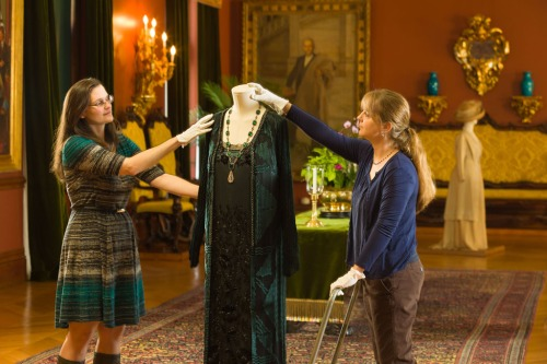 Staff prepare Downton Abbey Fashion Exhibit at Biltmore (Photos Courtesy of Biltmore)