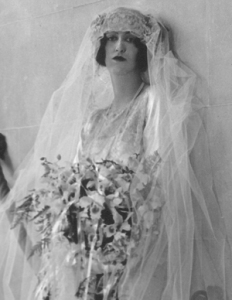 Cornelia Vanderbilt Cecil in her wedding gown, photographed in Biltmore House, 1924.