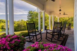 Front porch with rockers at Tiffany Hill B&B